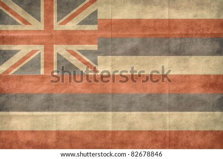 Shabby Hawaii flag, closeup background.