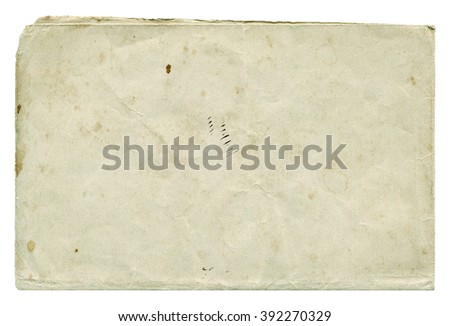 Shabby light paper blank with old spots isolated on white background. Vintage texture. #392270329