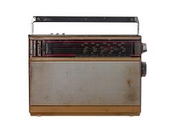 Shabby retro radio isolated on white background