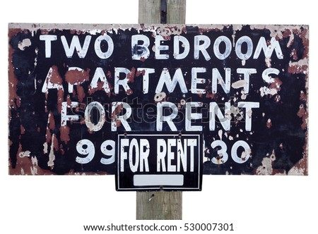 Shabby, sketchy, grunge APARTMENTS FOR RENT Sign. Isolated. Horizontal. #530007301