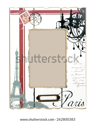 Shabby white wooden photo frame with red stripes, Eiffel Tower, postage stamp and black word Paris. In middle it's heart and place for your photo