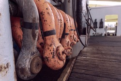 Shackles stored on board the Anchor handler. 150 T bow shackles. Towing, Anchor handling equipment.