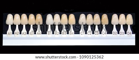 Shade guide for dentist and technician to make good teeth #1090125362