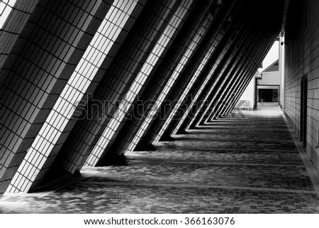 stock photo shade of light through part of building in black and white 366163076 - Каталог - 3d фотообои