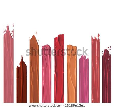 Shades of lipstick different tones color stroke on white background Foto d'archivio ©