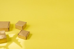 Shadow Airplane and stack of cardboard boxes. concept of air cargo and parcels, airmail. Fast delivery of goods and products. Cargo aircraft. Logistics, connection to hard-to-reach places. Banner, cop