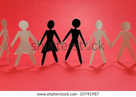 shadow figures of woman and men group join on red #10741987