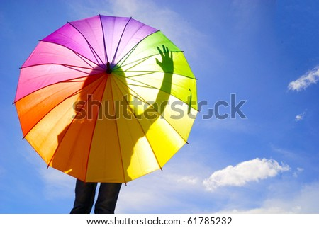 Shadow multicolor umbrella woman