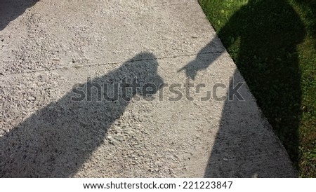 Shadow of a dog and owner
