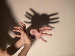 Shadow of the hand and fingers in the form of a crab on the wall