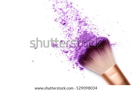 shadows and makeup brush isolated on white