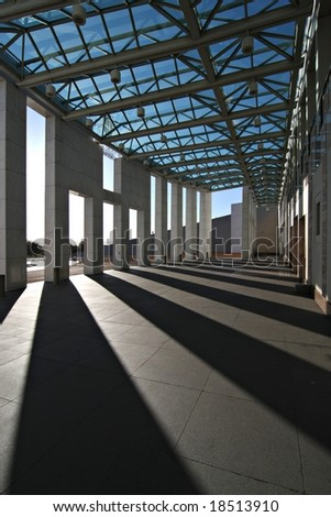 Shadows at the entrance to Australia's Parliament House - Canberra
