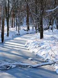 Shadows cast over a frozen creek in the Midwest United States