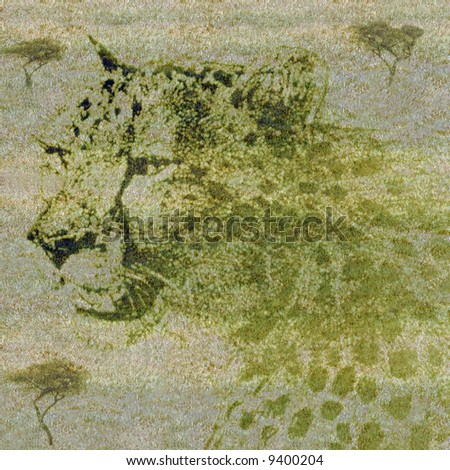 Shadowy outline of leopard on the grasslands of Africa - background use or extinction concept