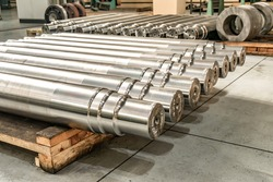 Shafts in the warehouse after turning at the factory.