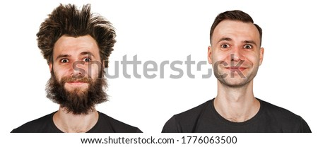 Shaggy bearded young guy with long hair before and after haircut in barbershop. on a white isolated background. Stock photo ©