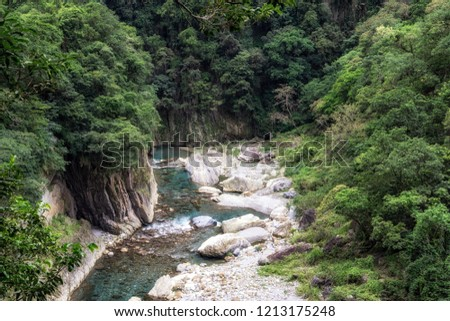 Shakadang river trail scenery with clean lush creek river water. Taken in Taroko National Park, Taiwan. #1213175248