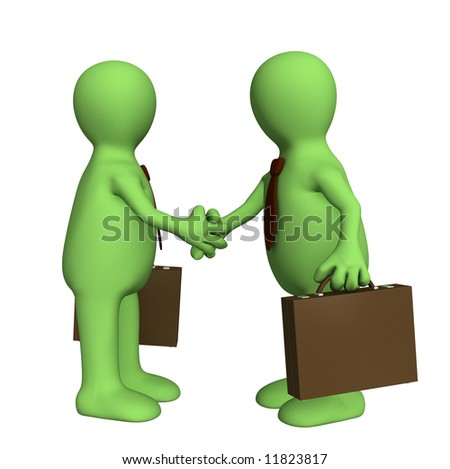 Shake hand of two 3d stylized people . Objects over white