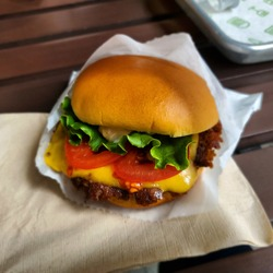 Shake shack buger with Samsung Galaxy S10 plus