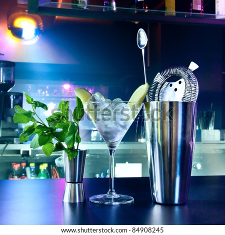 Shaker and bar inventory at a nightclub