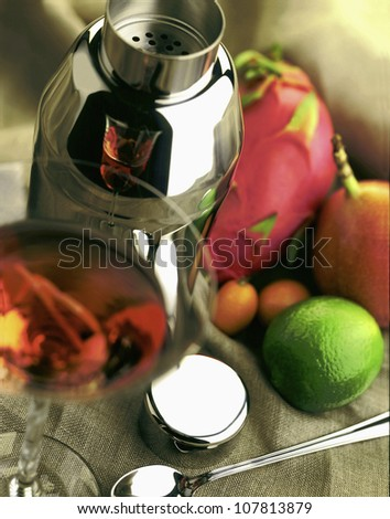 Shaker and fresh fruit for cocktails