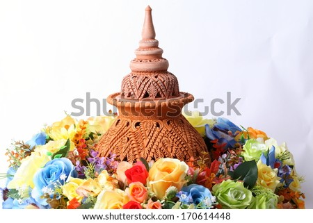 Shaker crafts, pottery of the Thai people and colorful flower