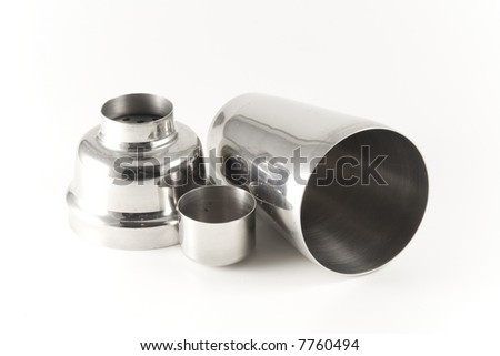 Shaker from stainless steel on white background. Isolated object.