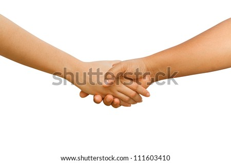 Shaking hands between man and woman  isolated on white background