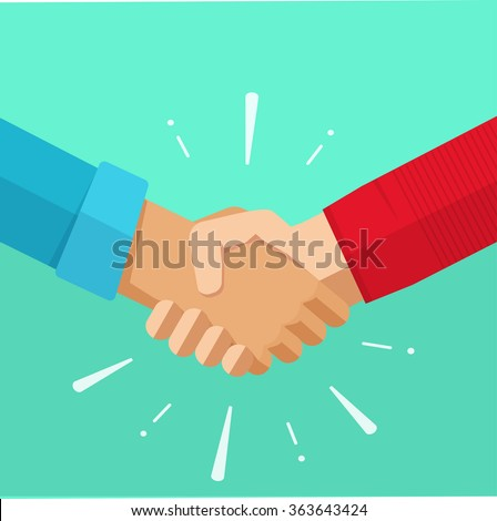 Shaking hands business illustration with abstract rays, symbol of success deal, happy partnership, greeting shake, casual handshaking agreement flat sign design isolated on green background image