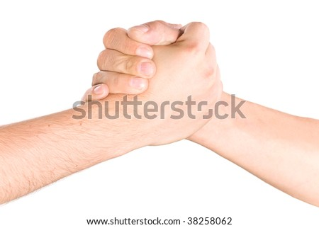 Shaking hands close up shot isolated on white