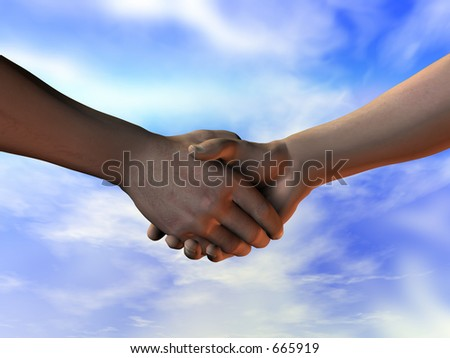 Shaking hands - making the deal. A 3D illustration with a clipping path to remove the background