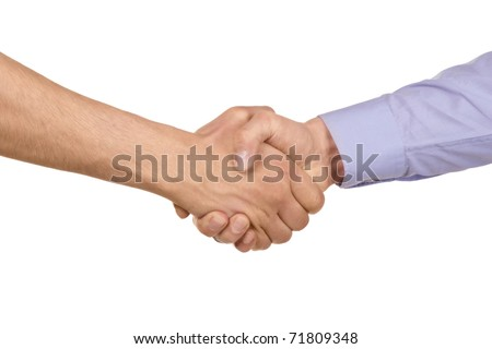 Shaking hands of two businessmen, isolated on white