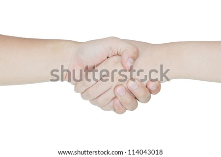 Shaking hands of two people isolated on white background