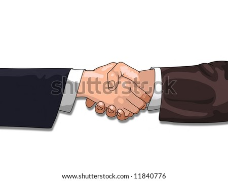 Shaking Hands over a white background