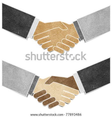 shaking hands  recycled paper craft stick on white background