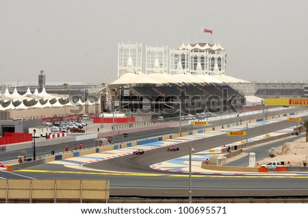 SHAKIR, BAHRAIN - APRIL 20: Formula 1 cars racing during Friday practice session in 2012 Formula 1 Gulf Air Bahrain Grand Prix on April 20, 2012 in Shakir, Bahrain