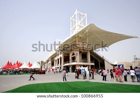 SHAKIR, BAHRAIN - APRIL 20: Formula 1 village, a vending & entertainment area in 2012 Formula 1 Gulf Air Bahrain Grand Prix on April 20, 2012 in Shakir, Bahrain