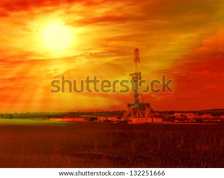 Shale gas drilling with sunrise in the province of Lublin, Poland.