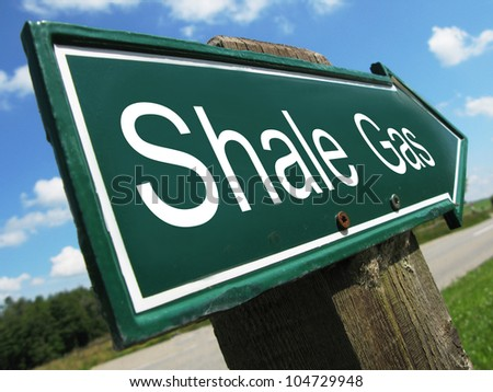 SHALE GAS road sign - stock photo