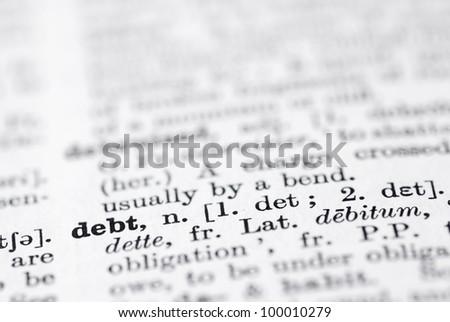 Shallow DOF, focus on debt bottom leftl. - stock photo