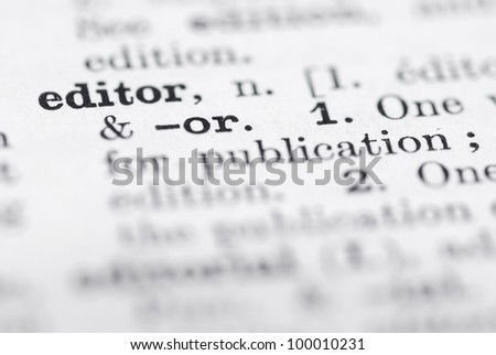 Shallow DOF, focus on Editor in English Dictionary. - stock photo