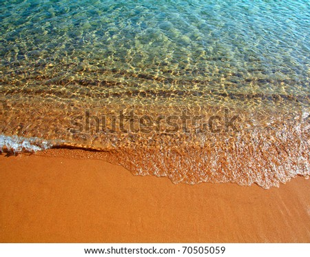 shallow of sea on gold sand beach close-up