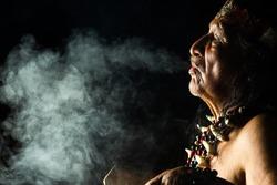 shaman amazon ayahuasca ecuador ritual medicine people ancient tribe smoke magical in ecuadorian amazon during a real ayahuasca celebrating picture as seen in april 2015 shaman amazon ayahuasca ecuado