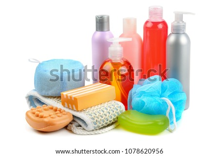 Shampoo, soap and bath sponge isolated on white background. Assortment of personal hygiene items. #1078620956