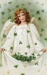 Shamrock Angel - an early 1900s vintage illustration.