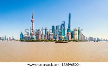 Shangai Bund skyline and Hangpu river during the day. China #1225965004