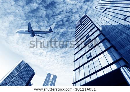 Shanghai aircraft on the sky