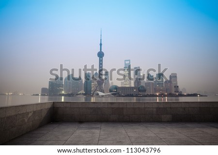 shanghai at dawn,modern city is about to start a new day