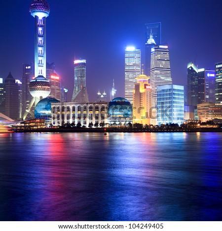 shanghai at night beside the huangpu river