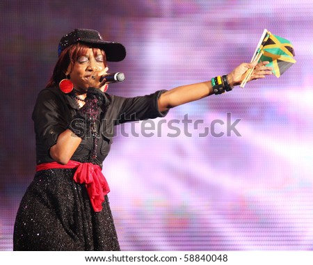 SHANGHAI - AUGUST 4: Jamaican songstress Keisha Patterson performs on stage at Shanghai World Expo 2010 on August 4, 2010 in Shanghai, China